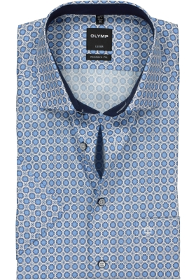 OLYMP Modern Fit overhemd korte mouw, blauw-wit dessin (contrast)