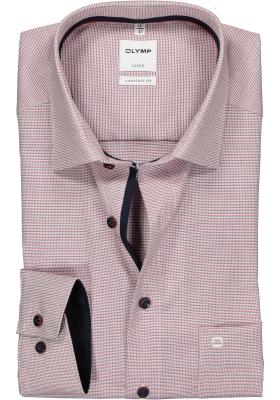 OLYMP Comfort Fit overhemd, 2-ply rood- blauw ingeweven dessin (contrast)
