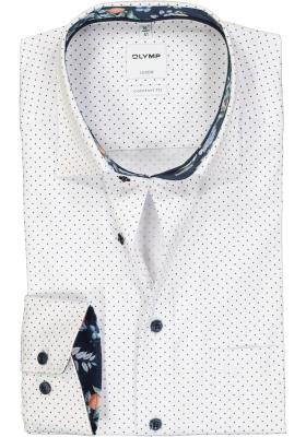 OLYMP Comfort Fit overhemd, wit structuur gestipt (contrast)