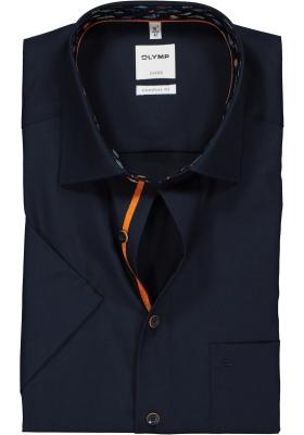 OLYMP Comfort Fit overhemd korte mouw, marine blauw (contrast)