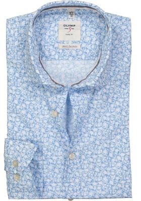 OLYMP Level 5 Smart Business Body Fit overhemd, lichtblauw dessin