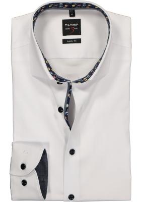 OLYMP Level 5 body fit overhemd, wit structuur met satijnbinding (contrast)