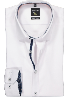 OLYMP No. 6 Six Super Slim Fit overhemd, wit 2-ply structuur (contrast)