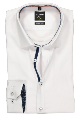 OLYMP No. 6 Six Super Slim Fit overhemd mouwlengte 7, wit 2-ply structuur (contrast)
