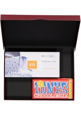 Heren cadeaubox altijd goed: Tony's Chocolonely Melk met 25 euro Cadeaubon