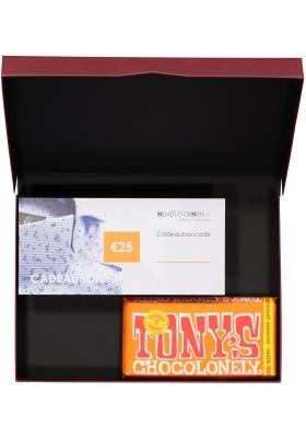Heren cadeaubox altijd goed: Tony's Chocolonely Melk Karamel Zeezout met 25 euro Cadeaubon