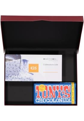 Heren cadeaubox altijd goed: Tony's Chocolonely Puur met Cadeaubon