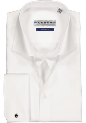 Ledûb Tailored Fit overhemd dubbele manchet, wit