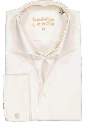 Ledûb Tailored Fit overhemd dubbele manchet, beige
