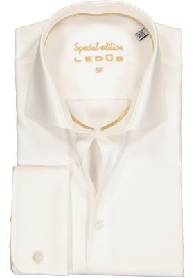 Ledûb Slim Fit overhemd dubbele manchet, beige
