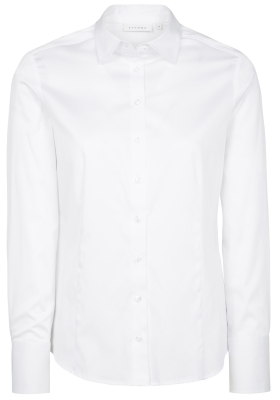 ETERNA dames blouse modern classic, stretch satijnbinding, wit