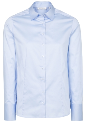 ETERNA dames blouse modern classic, stretch satijnbinding, lichtblauw
