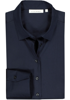 Eterna dames blouse Modern Classic stretch satijnbinding, donkerblauw