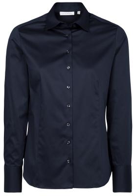 ETERNA dames blouse modern classic, stretch satijnbinding, donkerblauw