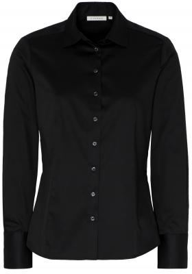 ETERNA dames blouse modern classic, stretch satijnbinding, zwart
