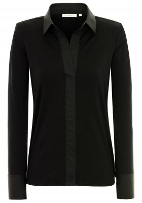 ETERNA dames blouse modern classic, jersey stretch, zwart