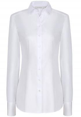 ETERNA dames blouse slim fit, stretch satijnbinding, wit