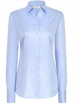 ETERNA dames blouse slim fit, stretch satijnbinding, lichtblauw