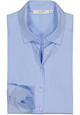 Eterna dames blouse Slim Fit stretch satijnbinding, lichtblauw