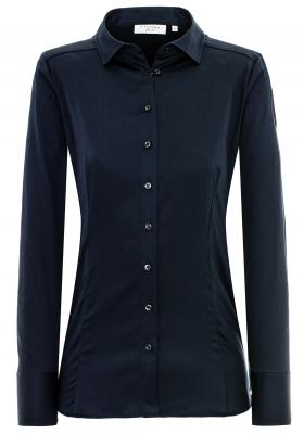 ETERNA dames blouse slim fit, stretch satijnbinding, donkerblauw