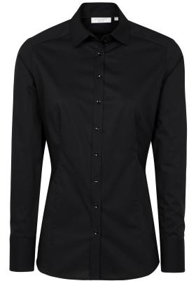 ETERNA dames blouse slim fit, stretch, zwart