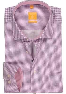 Redmond Modern Fit overhemd, roze - blauw mini dessin (contrast)