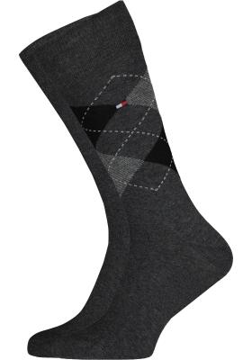 Tommy Hilfiger Check Socks (2-pack), herensokken katoen, geruit en uni, antraciet