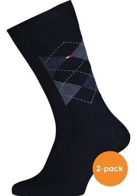 Tommy Hilfiger Check Socks (2-pack), herensokken katoen, geruit en uni, donkerblauw