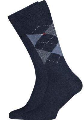Tommy Hilfiger Check Socks (2-pack), herensokken katoen, geruit en uni, jeans blauw