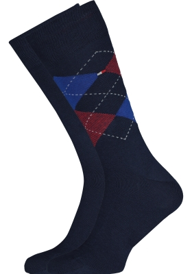 Tommy Hilfiger Check Socks (2-pack), herensokken katoen, geruit en uni, original blauw met rood