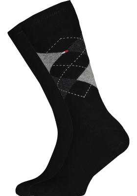 Tommy Hilfiger Check Socks (2-pack), herensokken katoen, geruit en uni, zwart