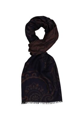 ETERNA herensjaal zijde, blauw - bruin dessin