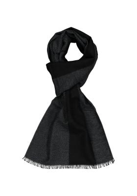 ETERNA herensjaal zijde, zwart - grijs gestreept