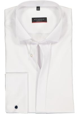 ETERNA modern fit overhemd, dubbele manchet, niet doorschijnend twill heren overhemd, wit