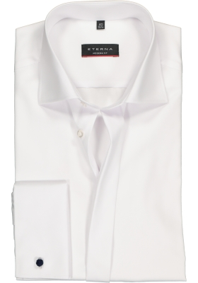 ETERNA Modern Fit overhemd, mouwlengte 7 dubbele manchet, wit twill niet doorschijnend