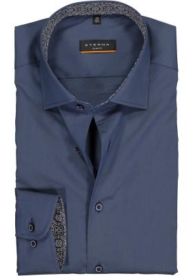ETERNA Slim Fit overhemd super lange mouw, blauw stretch (contrast)
