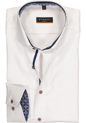 ETERNA Slim Fit overhemd super lange mouw, wit structuur (contrast)