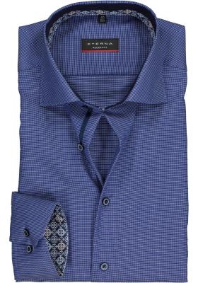 ETERNA Modern Fit overhemd mouwlengte 7, blauw structuur (contrast)