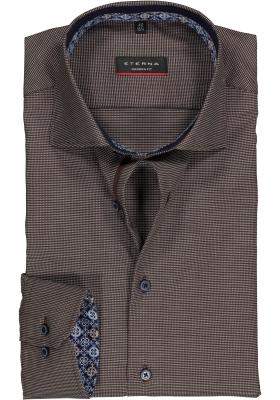 ETERNA Modern Fit overhemd, bruin structuur (contrast)