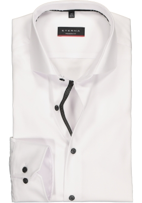 ETERNA modern fit overhemd, niet doorschijnend twill heren overhemd, wit (zwart contrast)