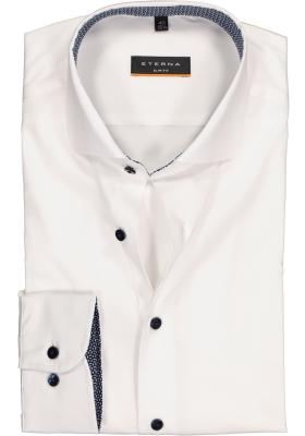 ETERNA slim fit performance overhemd, superstretch lyocell, wit (blauw dessin contrast)