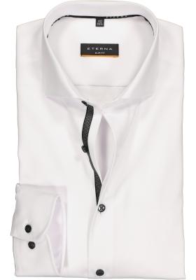 ETERNA slim fit overhemd, niet doorschijnend twill, wit (zwart contrast)