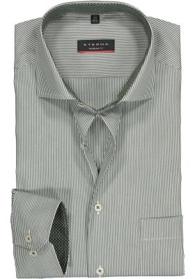ETERNA Modern Fit overhemd, olijfgroen met wit gestreept (contrast)