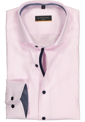 ETERNA slim fit overhemd, twill heren overhemd, roze met wit ( donkerblauw contrast)