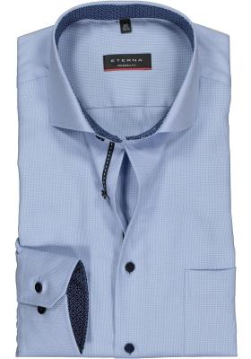 ETERNA Modern Fit overhemd mouwlengte 7, lichtblauw twill (contrast)