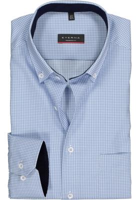 ETERNA modern fit overhemd, twill heren overhemd, lichtblauw met wit geruit (blauw contrast)