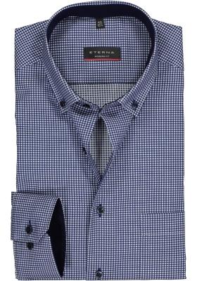 ETERNA modern fit overhemd, twill heren overhemd, donkerblauw met wit geruit (blauw contrast)