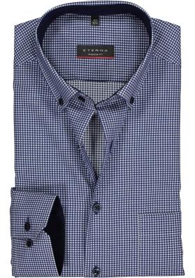 ETERNA modern fit overhemd, mouwlengte 7, twill heren overhemd, donkerblauw met wit geruit (blauw contrast)
