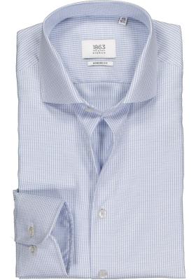ETERNA 1863 modern fit premium overhemd, 2-ply structuur heren overhemd, lichtblauw met wit pied de poule
