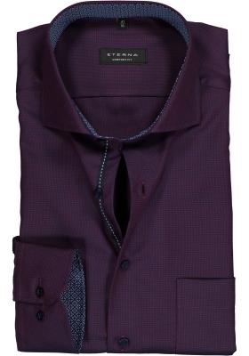 ETERNA Comfort Fit overhemd mouwlengte 7, paars/blauw structuur (contrast)